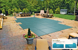 """Mesh Safety Cover for 16' x 32' Pool with 4' x 8' Offset 1"""" Left End"""