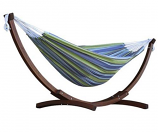 Double Cotton Hammock with Solid Pine Arc Stand - Oasis 8ft