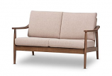 Modern Walnut Wood Light Brown Fabric Upholstered 2-Seater Loveseat