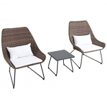 Montauk 3-Piece Wicker Scoop Chat Set with White Cushions