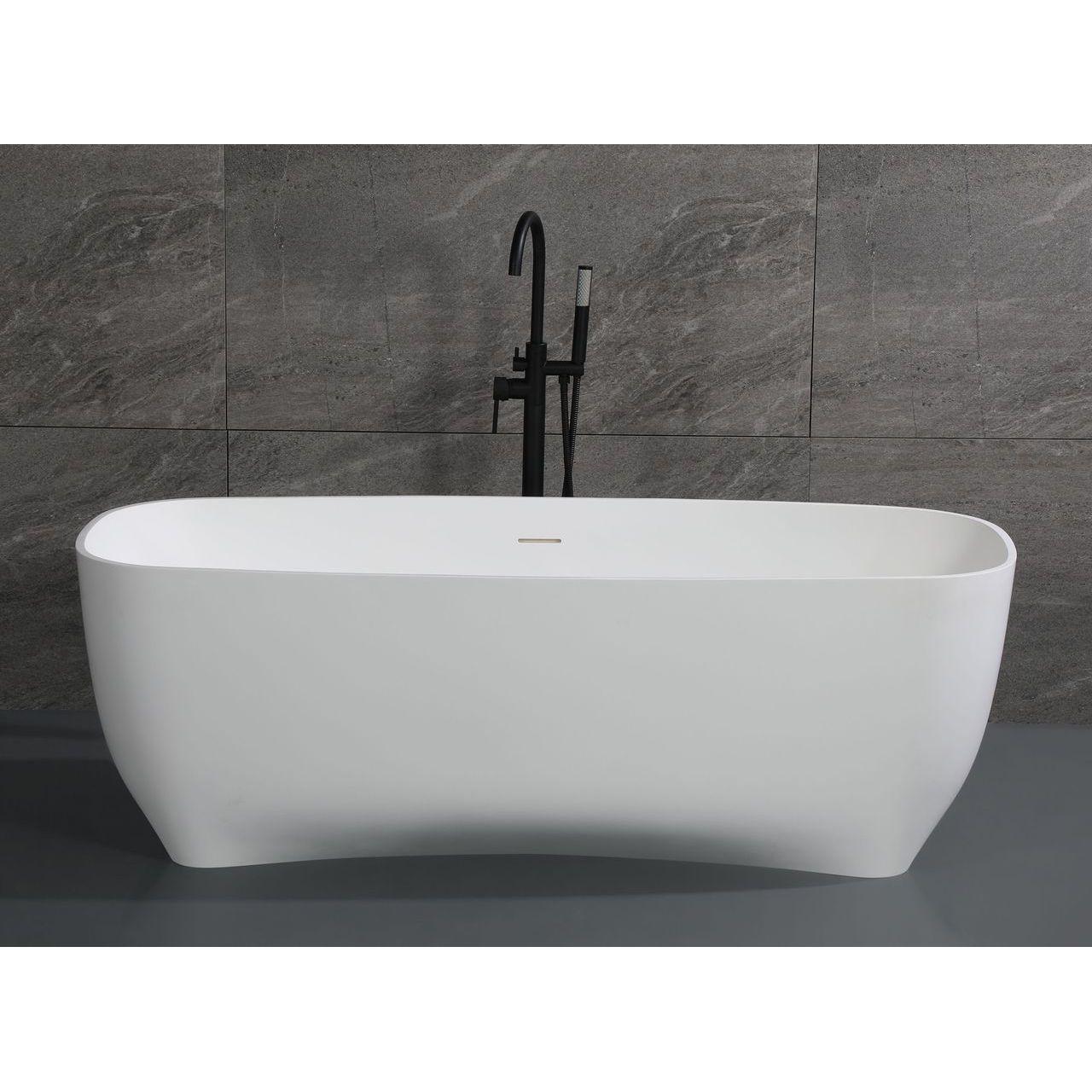 "ALFI 67"" White Matte Solid Surface Resin Bathtub"
