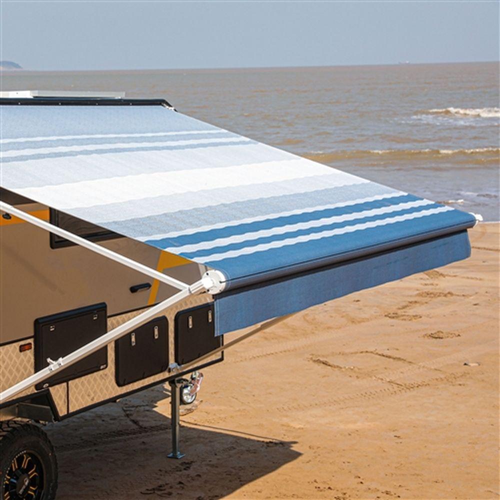 Aleko Motorized RV Camper Patio Awning 12x8Ft - Blue/White Stripe
