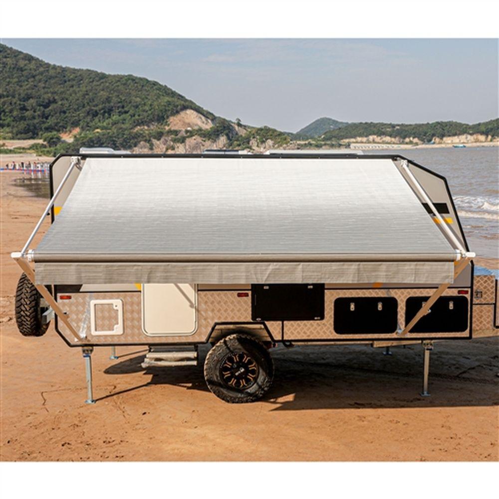 Aleko Motorized RV Camper Patio Awning 12x8Ft - Grey/White Fade