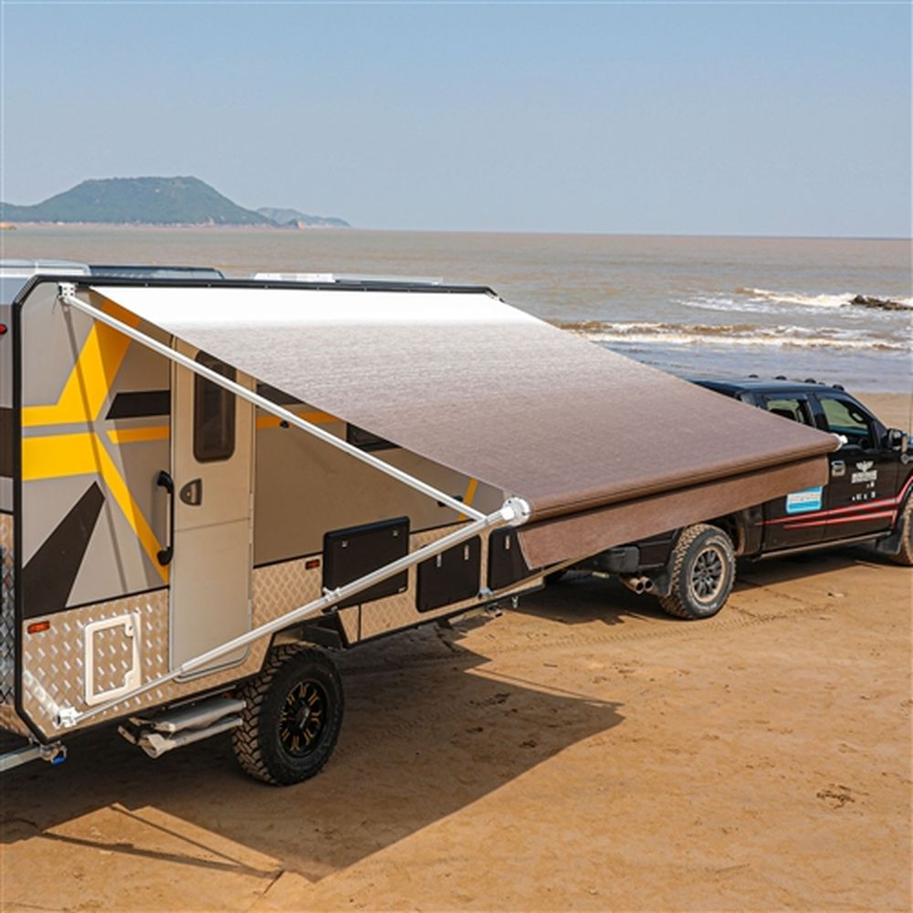 Aleko Motorized RV Camper Patio Awning 21x8Ft - Brown Fade