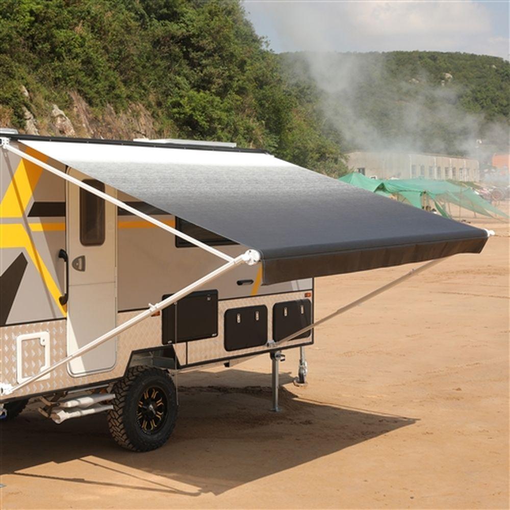 Aleko Motorized RV Camper Patio Awning 8x8Ft - White/Black Fade