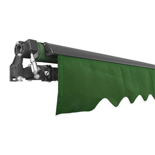 Aleko Black Frame Retractable Patio Awning 10x8Ft - Green