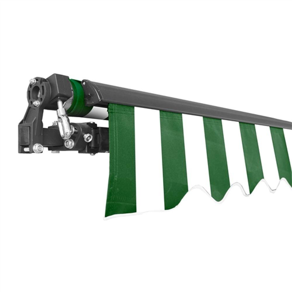 Aleko Black Frame Retractable Patio Awning 10x8Ft - Green/White
