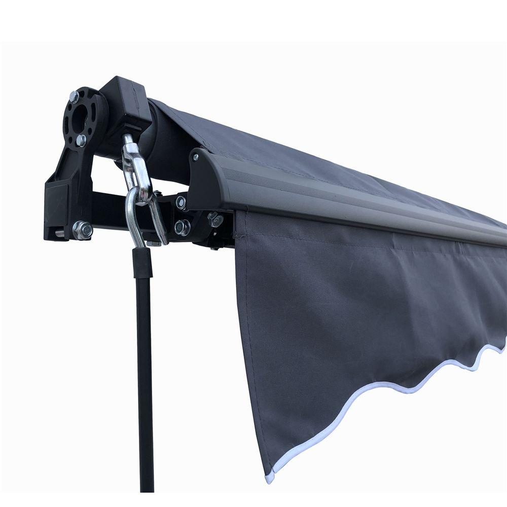Aleko Black Frame Retractable Patio Awning 10x8Ft - Grey