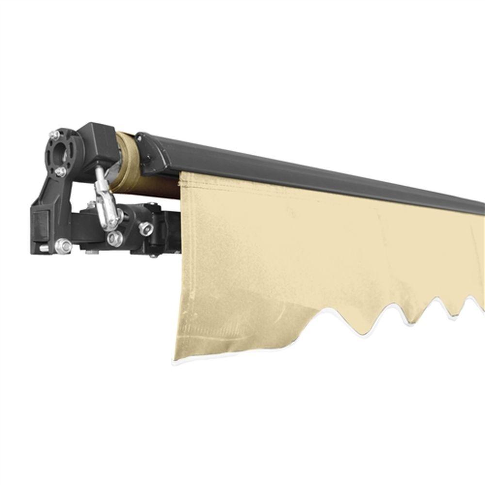 Aleko Black Frame Retractable Patio Awning 10x8Ft - Ivory