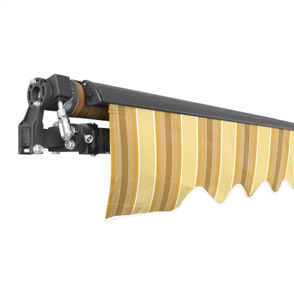 Aleko Black Frame Retractable Patio Awning 10x8Ft - Multi-Yellow