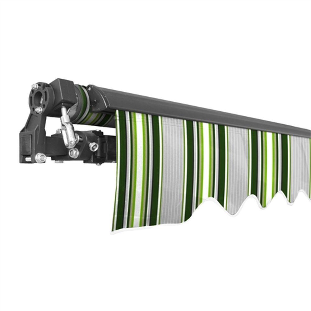 Aleko Black Frame Retractable Patio Awning 10x8Ft - Multi-Green