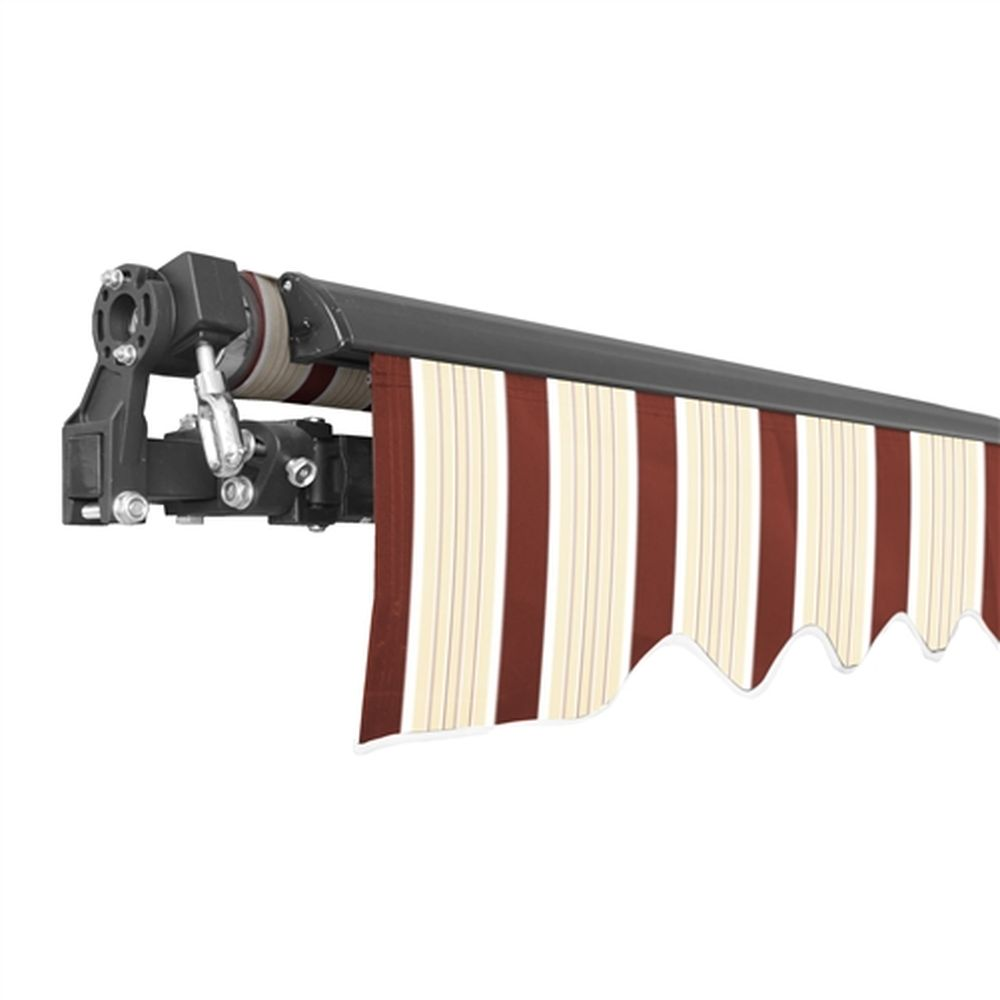 Aleko Black Frame Retractable Patio Awning 10x8Ft - Multi-Red