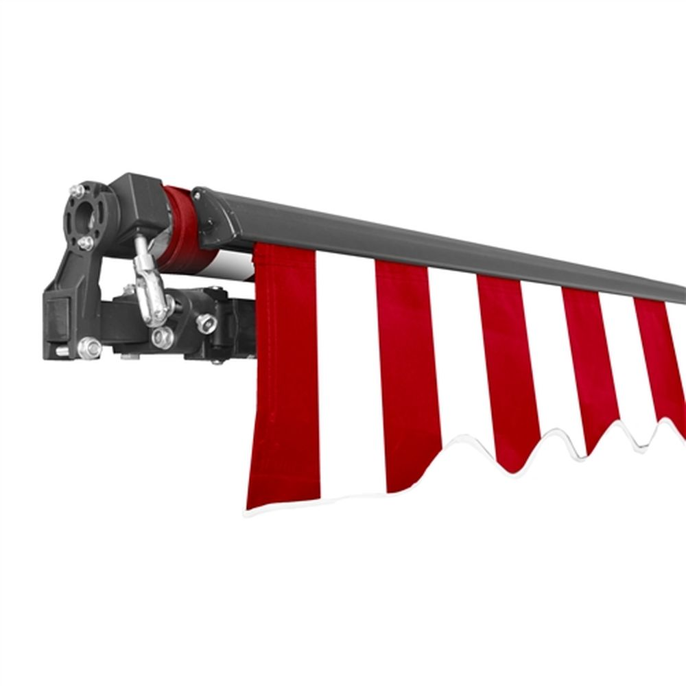 Aleko Black Frame Retractable Patio Awning 10x8Ft - Red/White