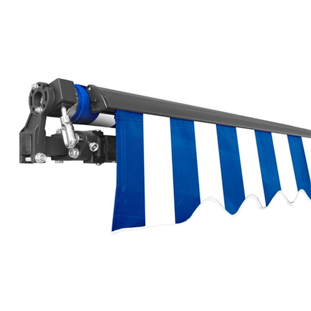 Aleko Black Frame Retractable Patio Awning 12x10Ft - Blue/White