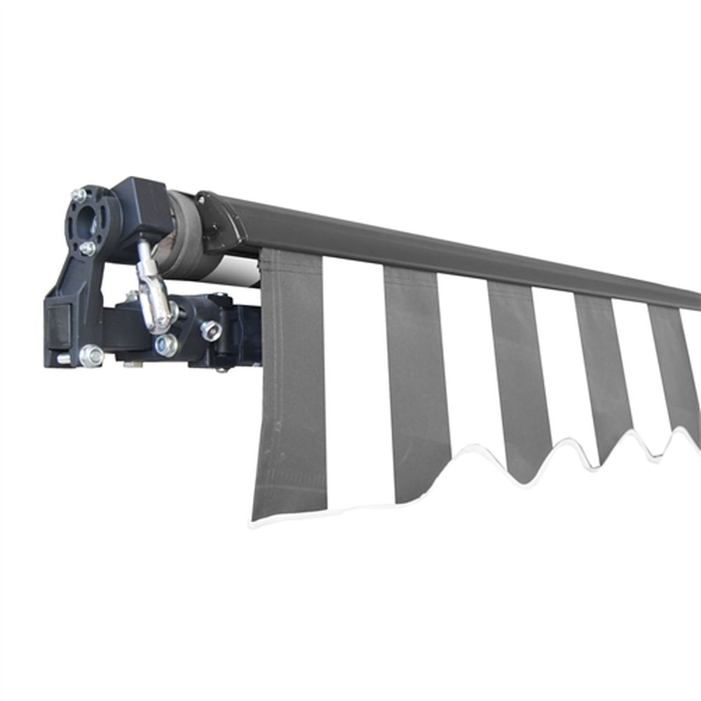 Aleko Black Frame Retractable Patio Awning 12x10Ft - Grey/White