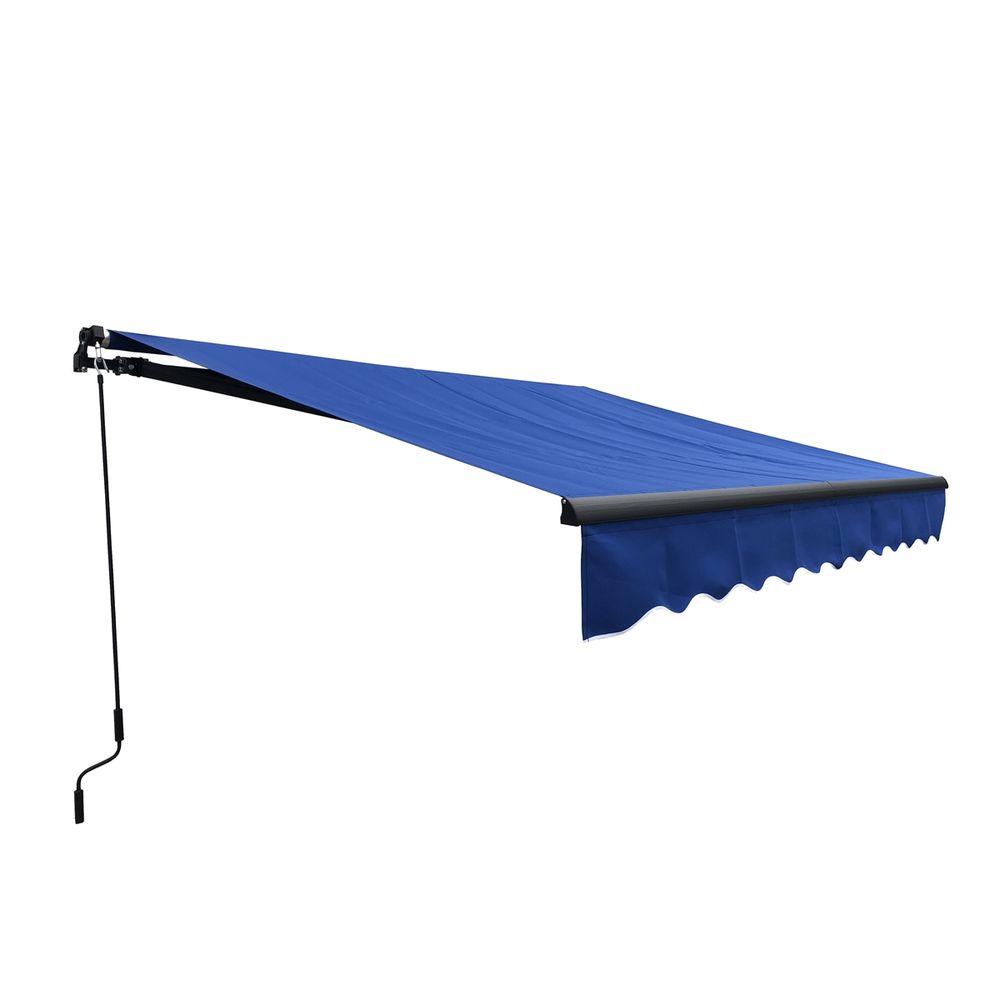 Aleko Black Frame Retractable Patio Awning 12x10Ft - Blue