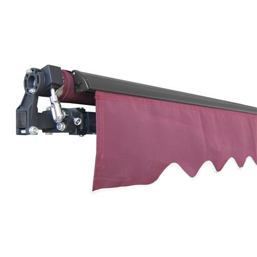 Aleko Black Frame Retractable Patio Awning 12x10Ft - Burgundy