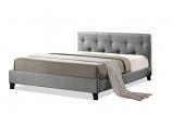 Annette Gray Linen Modern Bed with Upholstered Headboard - Full Size