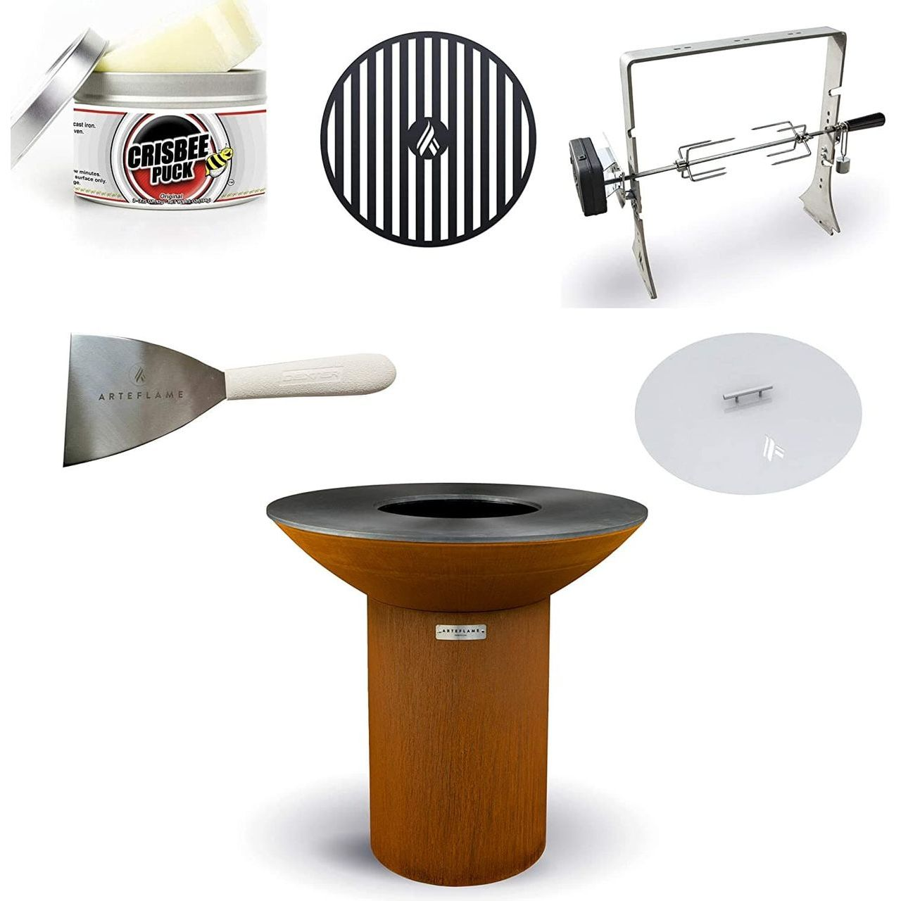 """Arteflame Classic 40"""" Grill/5-Pc High Round Base Home Chef Bundle"""