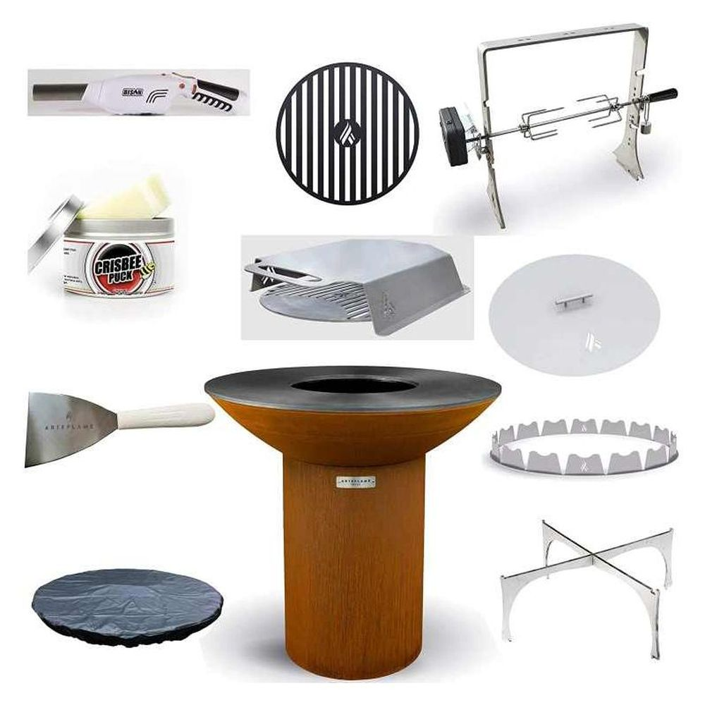 """Arteflame Classic 40"""" Grill/10-Pc High Round Base Home Chef Max Bundle"""