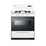 "Summit 30"" Deluxe Gas Range with Electronic Ignition - White WNM2307DK"