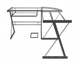 Ryan Rove RR1050 Madison 3-Piece L-Shaped Computer Desk in Black/Clear Glass
