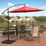 Cantilever Hanging Outdoor Patio Umbrella with Cross Base &Crank, Red