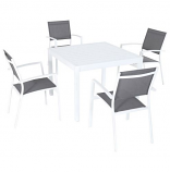 "5-Piece Dining Set with 4 Sling Arm Chairs and 38"" Square Dining Table"