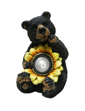 Black Bear with Solar Sunflower Garden Statue
