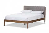 Light Grey Fabric and Medium Brown Finish Wood Queen Size Platform Bed