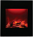 ZECL Electric Fireplace with Black Glass Surround and Log Set - 24""