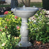 Country Gardens Solar Birdbath - Gray Weathered Stone