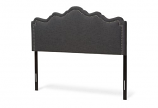 Nadeen Modern and Contemporary Dark Grey Fabric King Size Headboard