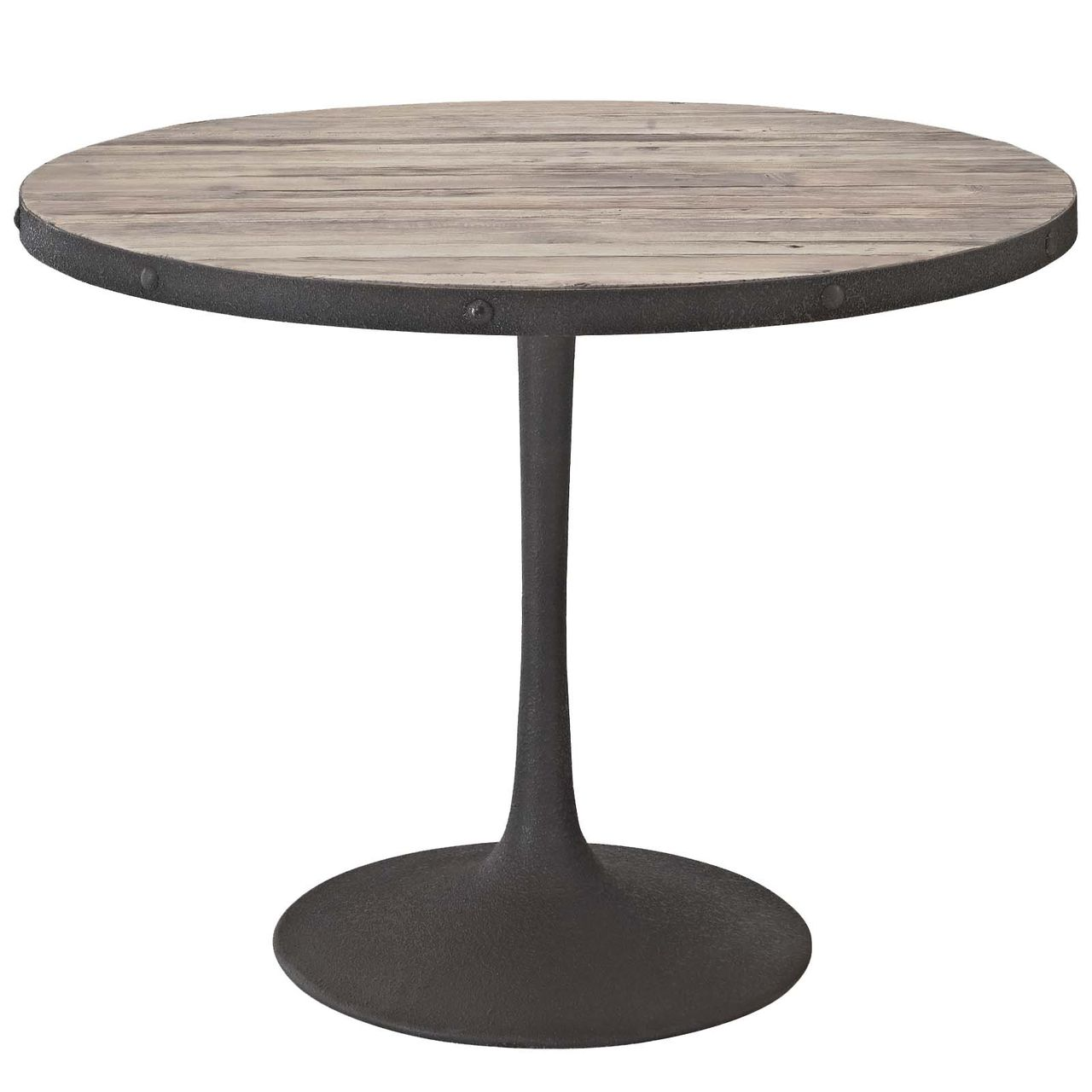 """Modway Drive 40"""" Round Wood Top Dining Table - Brown"""