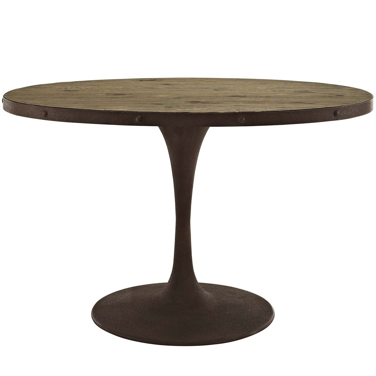"""Modway Drive 47"""" Oval Wood Top Dining Table - Brown"""