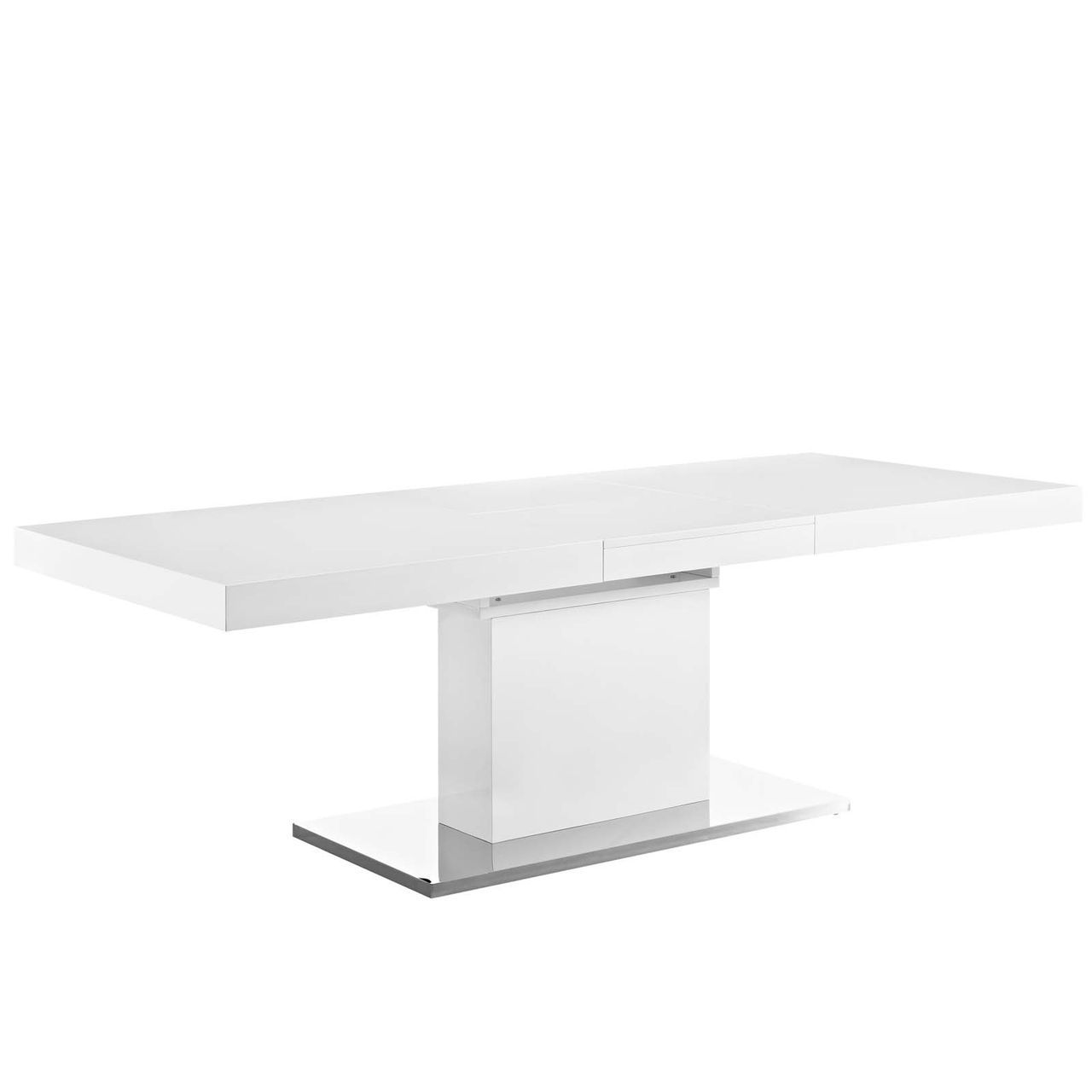 Modway Vector Expandable Dining Table - White Silver