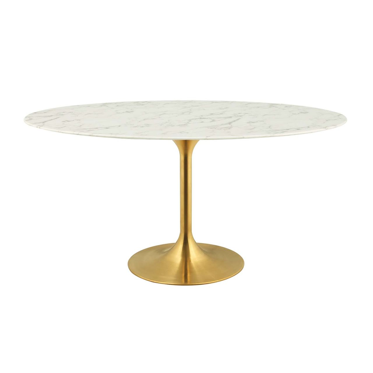 """Modway Lippa 60"""" Oval Artificial Marble Dining Table - Gold White"""