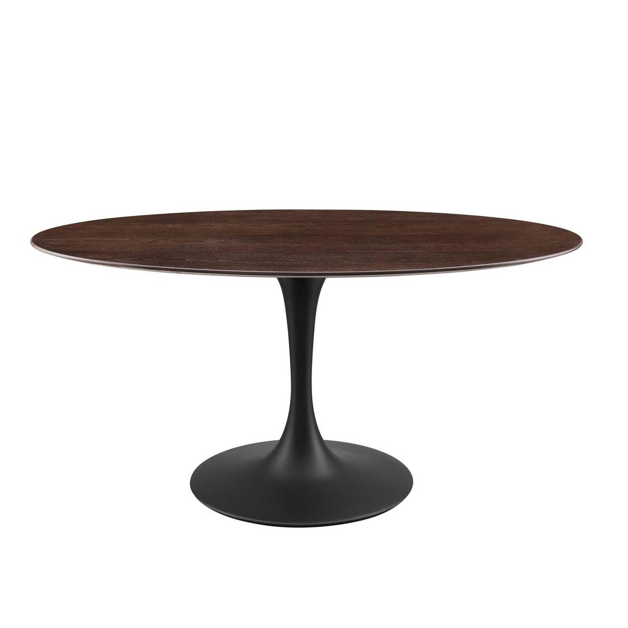 "Modway Lippa 60"" Wood Oval Dining Table - Black Cherry Walnut"
