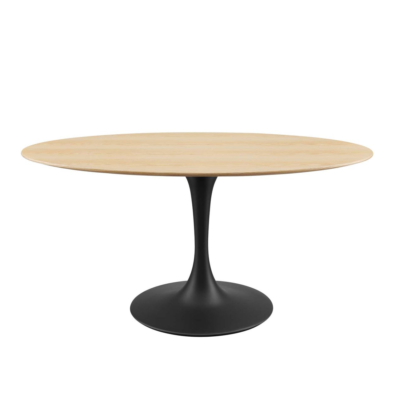 """Modway Lippa 60"""" Wood Oval Dining Table - Black Natural"""