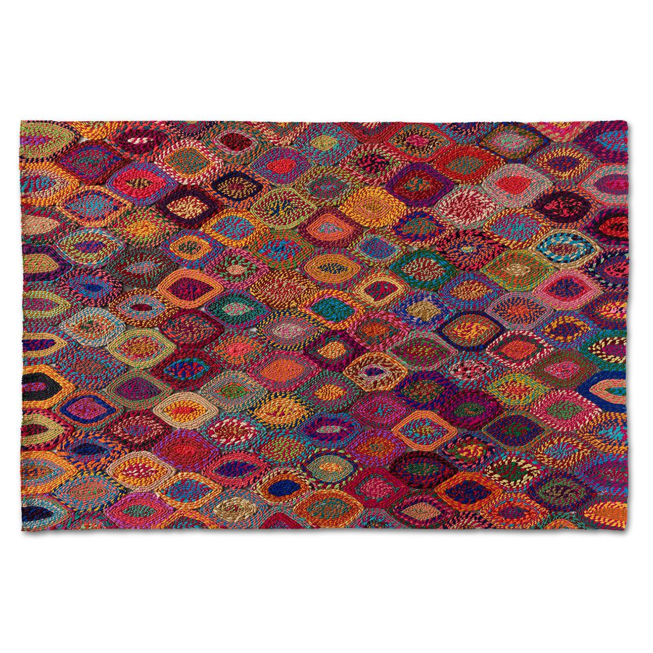 Baxton Studio Addis Multi-Colored Handwoven Fabric Area Rug