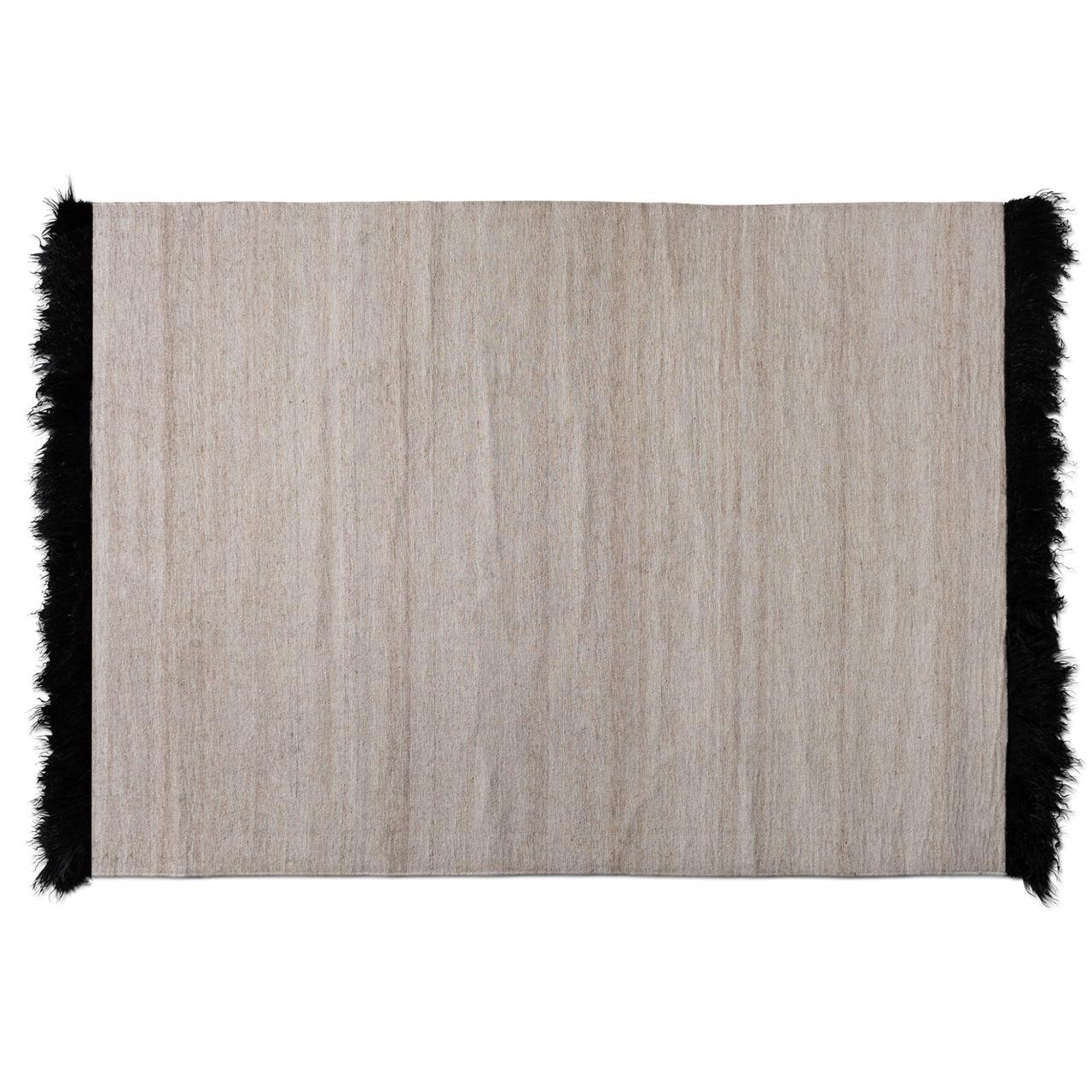 Baxton Studio Dalston Beige/Black Handwoven Wool Blend Area Rug