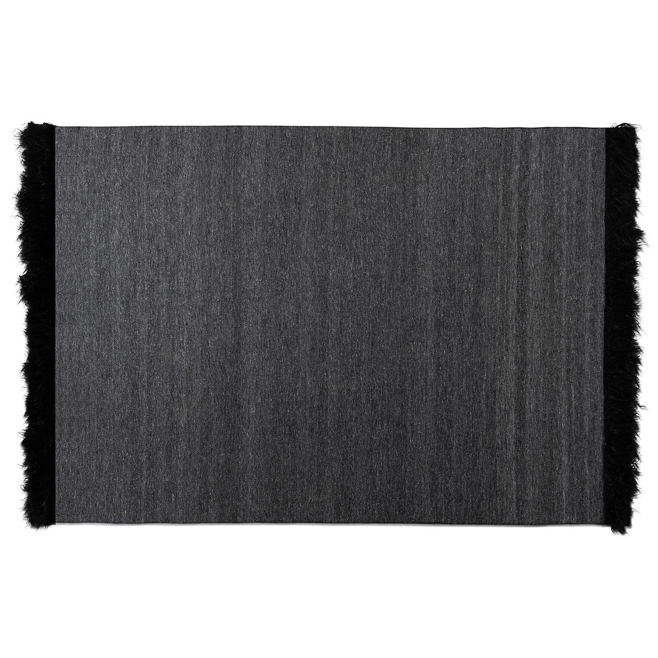 Baxton Studio Dalston Dark Grey/Black Handwoven Wool Blend Area Rug