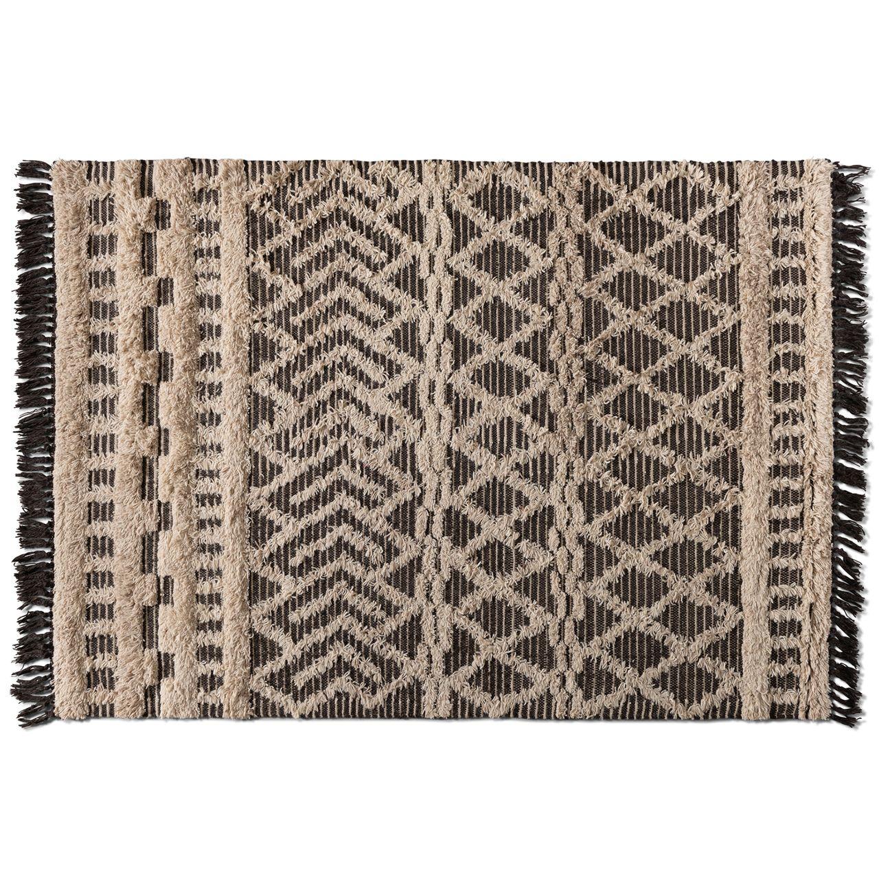Baxton Studio Heino Ivory/Charcoal Handwoven Wool Area Rug