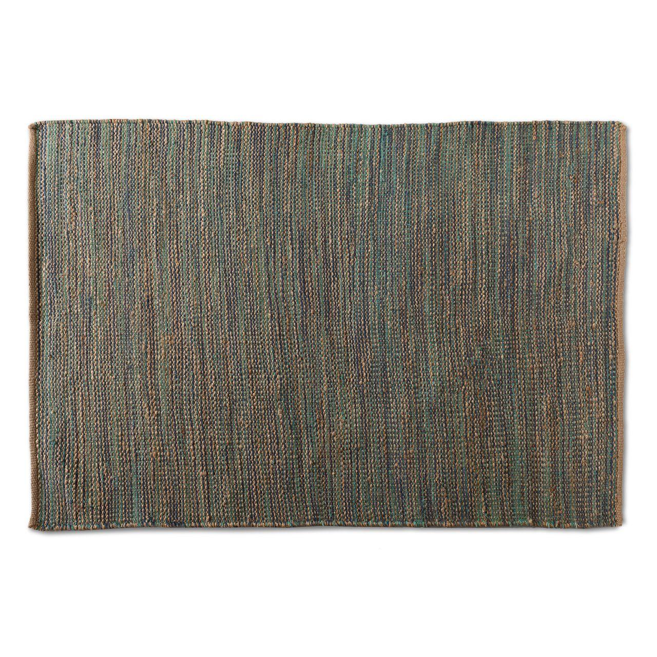 Baxton Studio Michigan Blue Handwoven Hemp Blend Area Rug