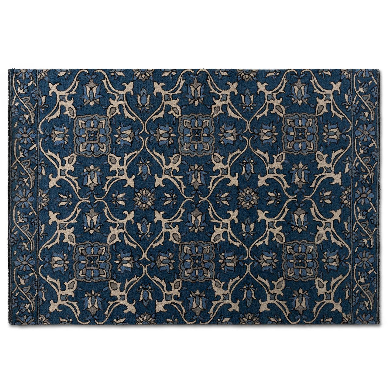 Baxton Studio Panacea Blue Hand-Tufted Wool Area Rug
