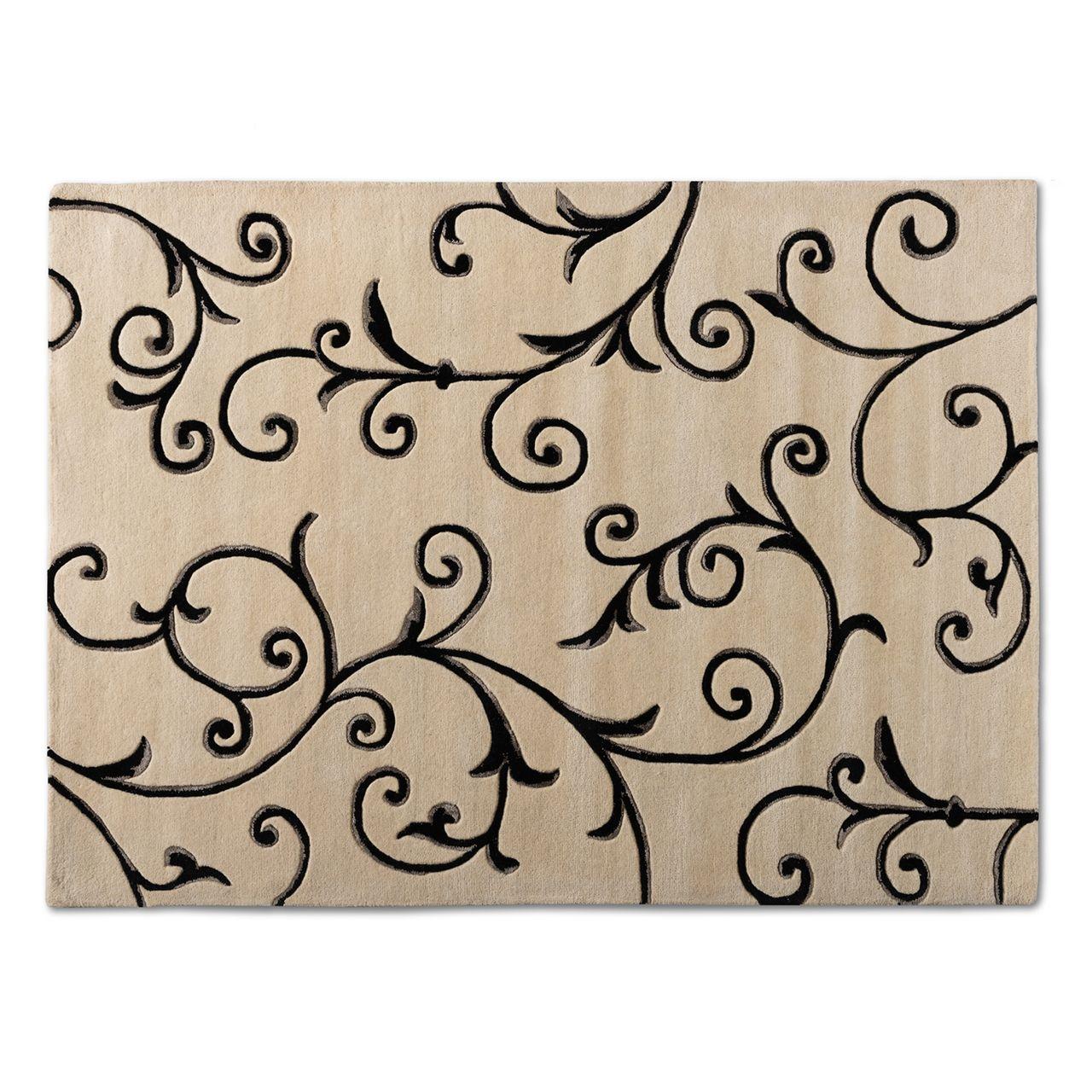 Baxton Studio Trellis Ivory and Black Hand-Tufted Wool Blend Area Rug