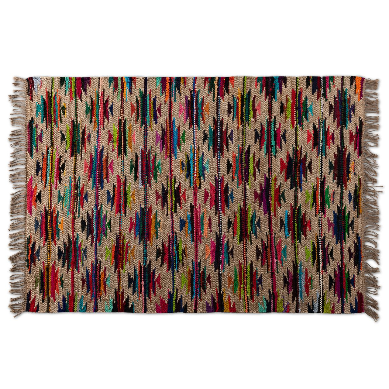 Baxton Studio Zurich Multi-Colored Handwoven Hemp Blend Area Rug