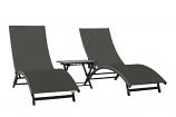 Coral Springs Lounger 3 Pc Set - Aluminum - Grey on Matte Black