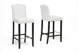 Libra White Modern Bar Stool with Nail Head Trim-Set of 2
