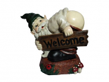 Alpine ZEN244 Mooning Gnome with 'Welcome' Wood Sign Statue
